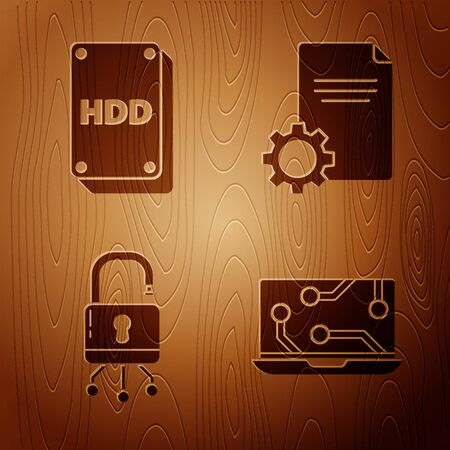 Set Laptop, Hard disk drive HDD, Lock on digital circuit board and File document on wooden background. Vector