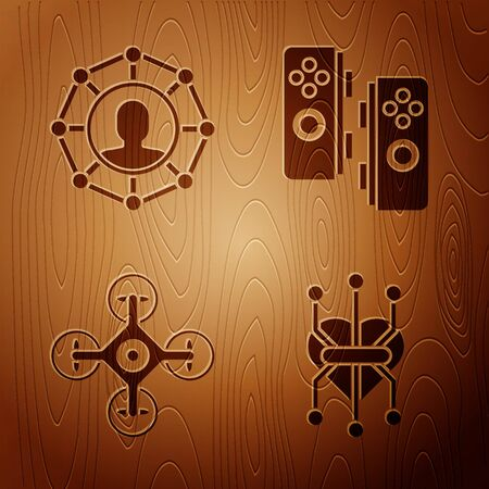 Set Processor, Project team base, Drone and Gamepad on wooden background. Vector