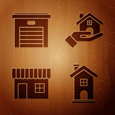 Set Home symbol, Garage, Shopping building or market store and Realtor on wooden background. Vector