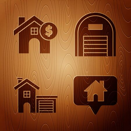 Set Map pointer with house, House with dollar symbol, House and Warehouse on wooden background. Vector