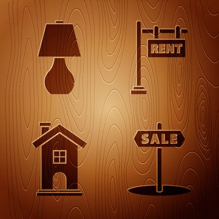 Set Hanging sign with text Sale, Table lamp, Home symbol and Hanging sign with text Rent on wooden background. Vector