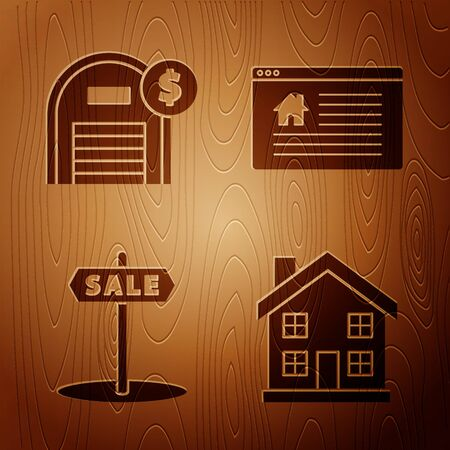Set Home symbol, Warehouse with dollar symbol, Hanging sign with text Sale and Hanging sign with text Online Sale on wooden background. Vector