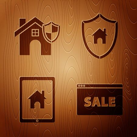 Set Hanging sign with text Online Sale, House with shield, Tablet and smart home and House with shield on wooden background. Vector