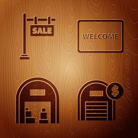 Set Warehouse with dollar symbol, Hanging sign with text Sale, Warehouse and Doormat with the text Welcome on wooden background. Vector