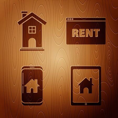 Set Tablet and smart home, Home symbol, Mobile phone with smart home and Hanging sign with text Online Rent on wooden background. Vector 向量圖像