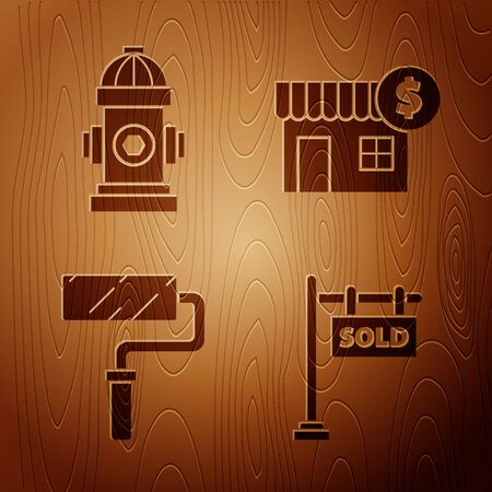 Set Hanging sign with text Sold, Fire hydrant, Paint roller brush and House with dollar symbol on wooden background. Vector