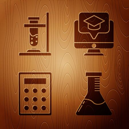 Set Test tube and flask chemical laboratory, Glass test tube flask on fire, Calculator and Monitor with graduation cap on wooden background. Vector 向量圖像