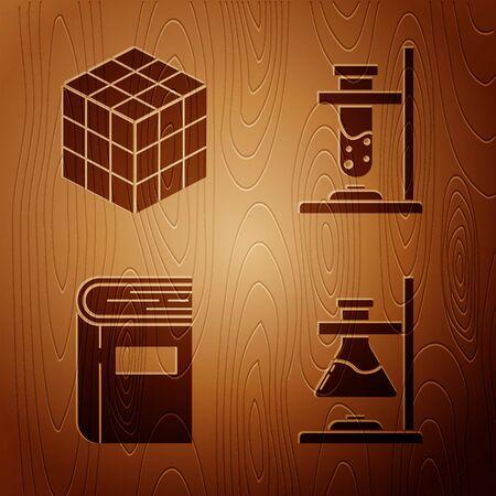 Set Glass test tube flask on fire, Rubik cube, Book and Glass test tube flask on fire on wooden background. Vector