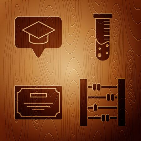 Set Abacus, Graduation cap in speech bubble, Certificate template and Test tube and flask chemical laboratory on wooden background. Vector