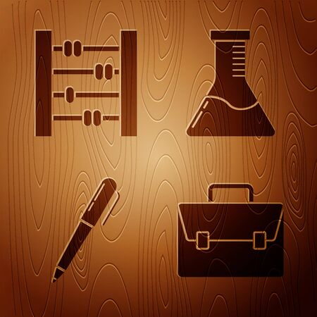 Set Briefcase, Abacus, Pen and Test tube and flask chemical laboratory on wooden background. Vector