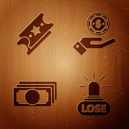 Set Casino losing, Lottery ticket, Stacks paper money cash and Hand holding casino chips on wooden background. Vector