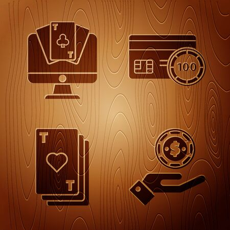 Set Hand holding casino chips, Online poker table game, Playing card with heart and Credit card on wooden background. Vector