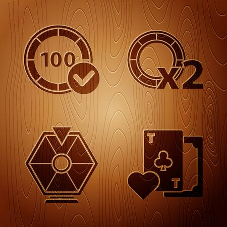 Set Playing card with clubs symbol, Casino chips, Lucky wheel and Casino chips on wooden background. Vector Illustration