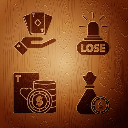 Set Money bag and casino chips, Hand holding deck of playing cards, Casino chip and playing cards and Casino losing on wooden background. Vector