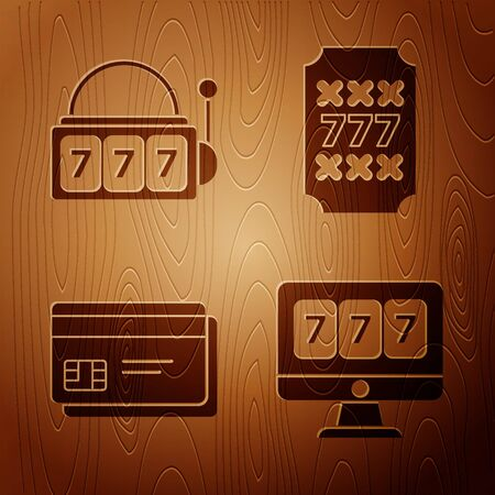 Set Online slot machine with lucky sevens jackpot, Slot machine with lucky sevens jackpot, Credit card and Slot machine with lucky sevens jackpot on wooden background. Vector 向量圖像