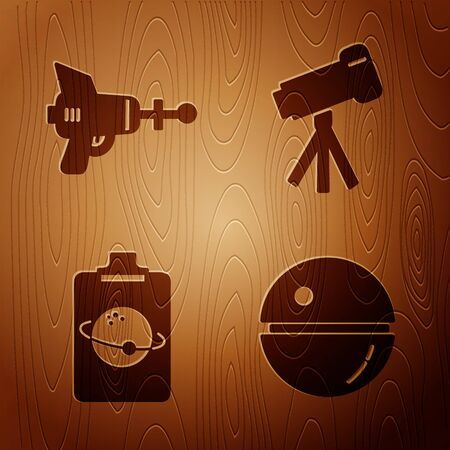Set Death star, Ray gun, Planet and Telescope on wooden background. Vector 向量圖像