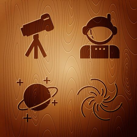 Set Black hole, Telescope, Planet and Astronaut on wooden background. Vector 向量圖像