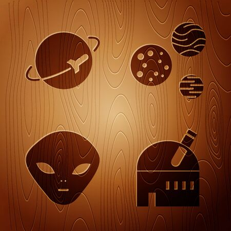 Set Astronomical observatory, Planet, Alien and Planet on wooden background. Vector