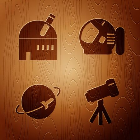Set Telescope, Astronomical observatory, Planet and Astronaut helmet on wooden background. Vector