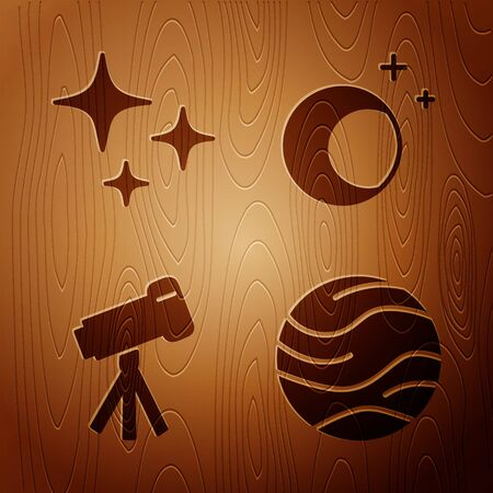 Set Planet, Falling star, Telescope and Moon and stars on wooden background. Vector 向量圖像