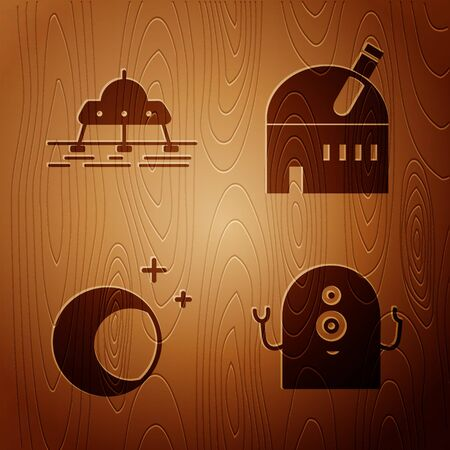 Set Alien, Mars rover, Moon and stars and Astronomical observatory on wooden background. Vector 向量圖像