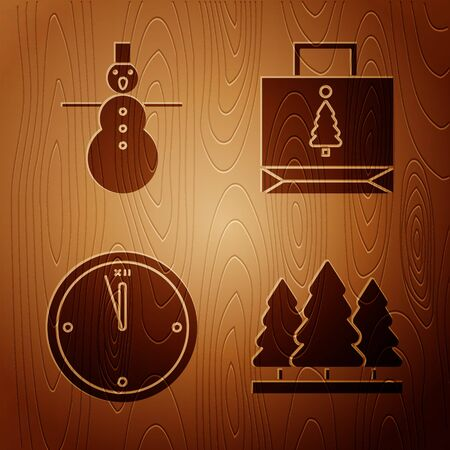 Set Christmas trees, Christmas snowman, Clock and Christmas paper shopping bag on wooden background. Vector