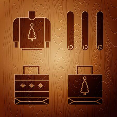 Set Christmas paper shopping bag, Christmas sweater, Christmas paper shopping bag and Three rolled sticks of cinnamon on wooden background. Vector 向量圖像