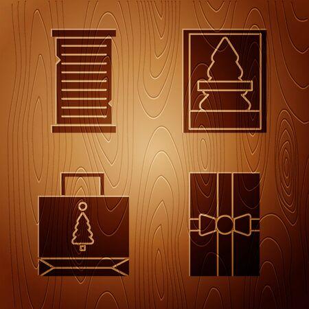 Set Gift box, Christmas wish list template, Christmas paper shopping bag and Christmas postcard on wooden background. Vector 向量圖像