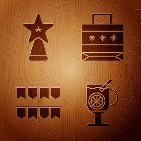 Set Mulled wine with glass of drink, Christmas star, Carnival garland with flags and Christmas paper shopping bag on wooden background. Vector 向量圖像