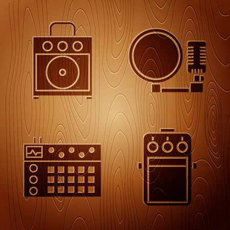 Set Guitar pedal, Guitar amplifier, Drum machine and Microphone on wooden background. Vector