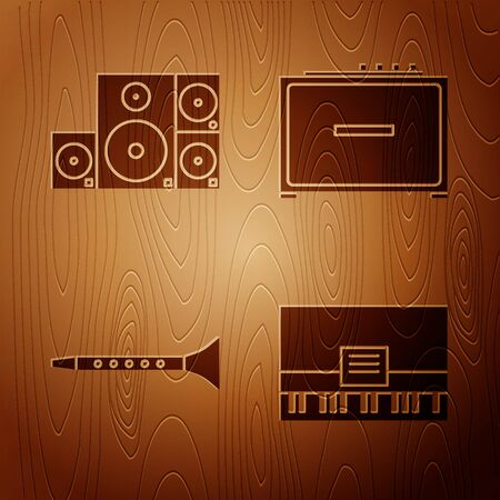 Set Piano, Stereo speaker, Clarinet and Guitar amplifier on wooden background. Vector