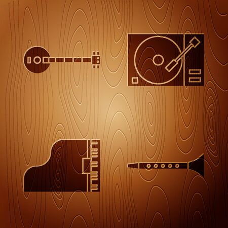 Set Clarinet, Banjo, Grand piano and Vinyl player with a vinyl disk on wooden background. Vector Illustration