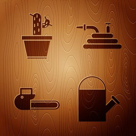 Set Watering can, Cactus and succulent in pot, Chainsaw and Garden hose or fire hose on wooden background. Vector
