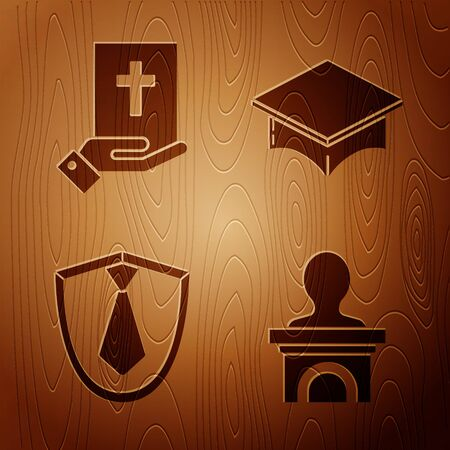 Set Stage stand or debate podium rostrum, Oath on the Holy Bible, Tie and Graduation cap on wooden background. Vector