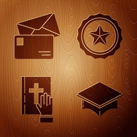 Set Graduation cap, Envelope, Oath on the Holy Bible and Police badge on wooden background. Vector Vectores