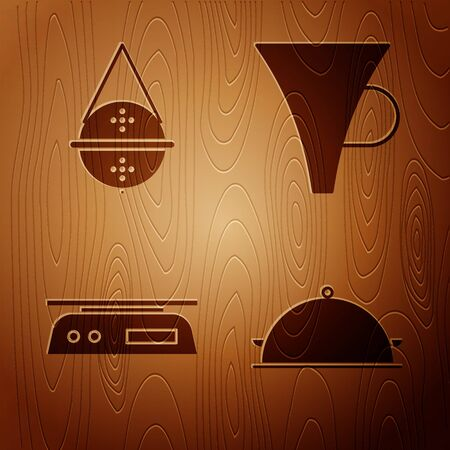 Set Covered with a tray of food, Ball tea strainer, Electronic scales and Funnel or filter on wooden background. Vector