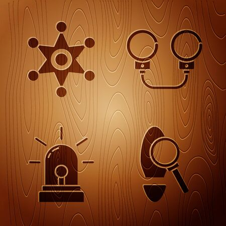 Set Magnifying glass with footsteps, Hexagram sheriff, Flasher siren and Handcuffs on wooden background. Vector