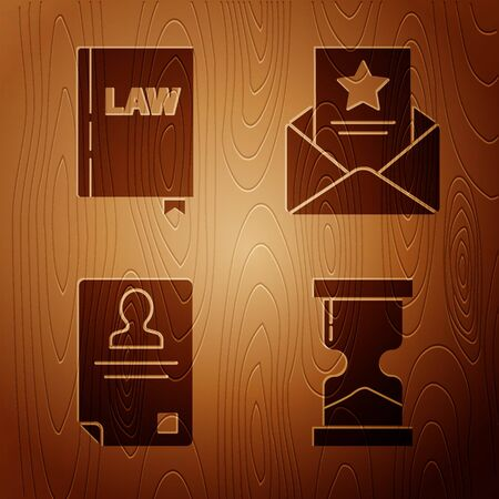 Set Old hourglass, Law book, Identification badge and The arrest warrant on wooden background. Vector