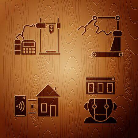Set Robot, 3D printer, Smart home and Industrial machine robotic robot arm hand factory on wooden background. Vector