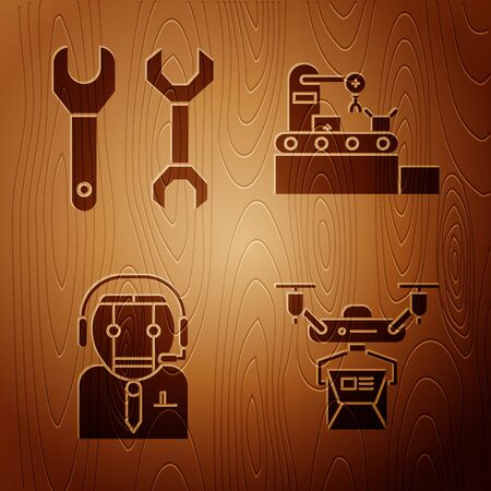 Set Drone delivery concept, Spanner, Worker robot and Factory conveyor system belt on wooden background. Vector  イラスト・ベクター素材