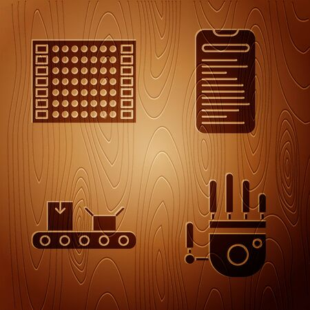 Set Mechanical robot hand, Printed circuit board PCB, Conveyor belt with cardboard box and Computer api interface on wooden background. Vector  イラスト・ベクター素材