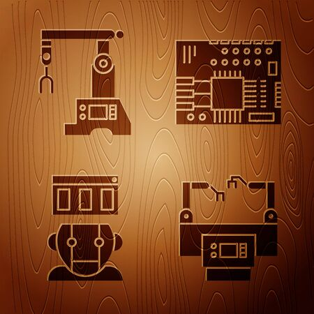 Set Assembly line, Assembly line, Robot and Printed circuit board PCB on wooden background. Vector  イラスト・ベクター素材