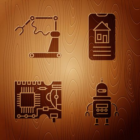 Set Robot, Industrial machine robotic robot arm hand factory, Printed circuit board PCB and Smart home on wooden background. Vector