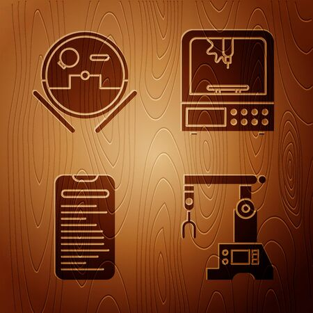 Set Assembly line, Robot vacuum cleaner, Computer api interface and 3D printer on wooden background. Vector Imagens - 143885525