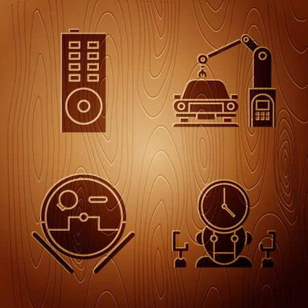 Set Robot and digital time manager, Remote control, Robot vacuum cleaner and Industrial machine robotic robot arm hand on wooden background. Vector Imagens - 143885527