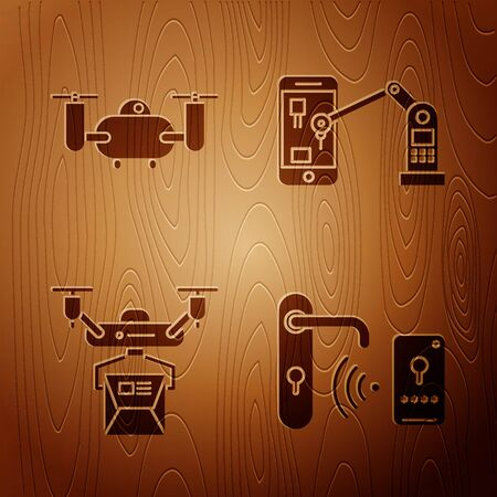 Set Digital door lock with wireless technology for unlock, Drone flying with action camera, Drone delivery concept and Industrial machine robotic robot arm hand on wooden background. Vector