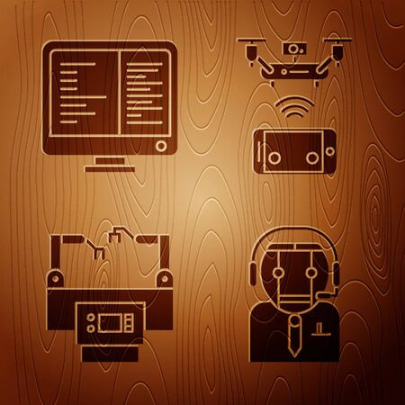 Set Worker robot, Computer monitor screen, Assembly line and Remote aerial drone on wooden background. Vector