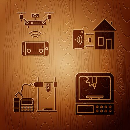 Set 3D printer, Remote aerial drone, 3D printer and Smart home on wooden background. Vector  イラスト・ベクター素材