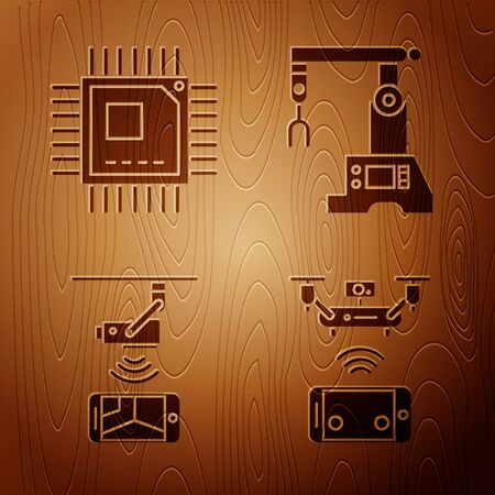 Set Remote aerial drone, Processor with microcircuits CPU, Wireless Controlling CCTV security camera and Assembly line on wooden background. Vector