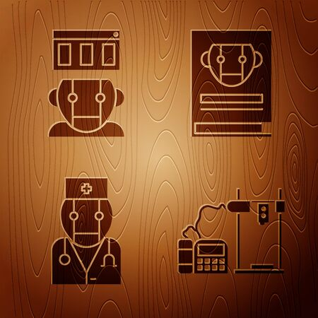 Set 3D printer, Robot, Robot doctor and User manual on wooden background. Vector